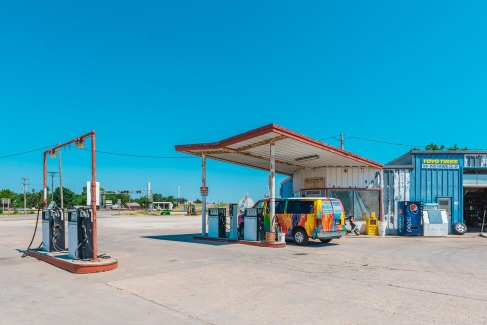Escape campervan at an american gas station