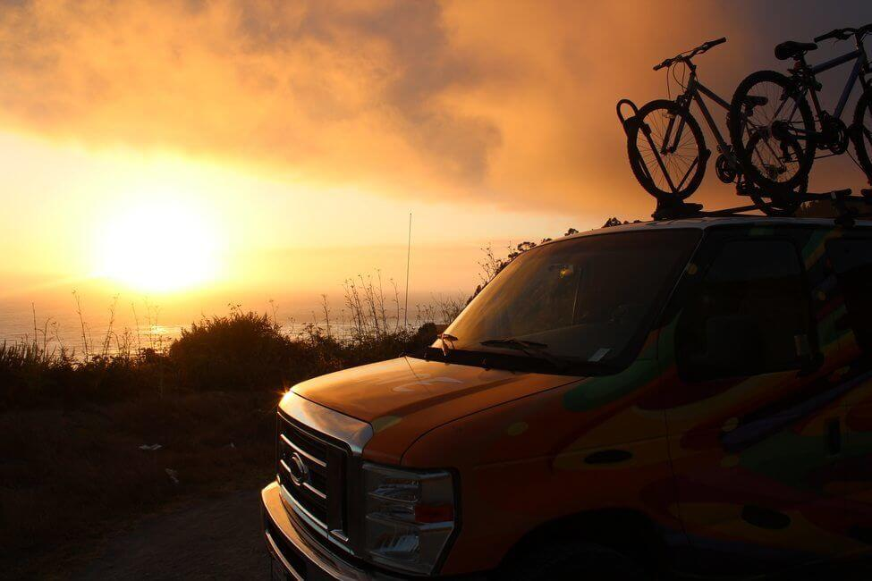 California coast campervan road trip bikes