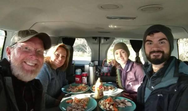 campervan family dinner