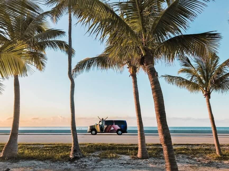 Miami Florida Key West Campervan on the beach