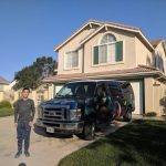 campervan parked outside home in California