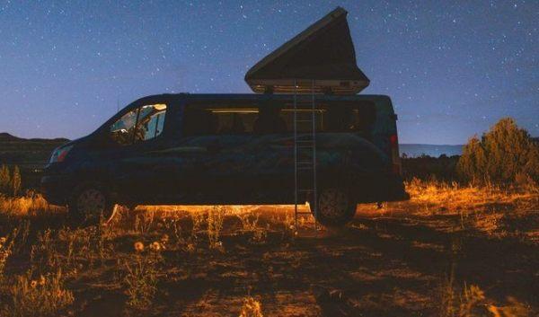 Escape Campervan under starlight