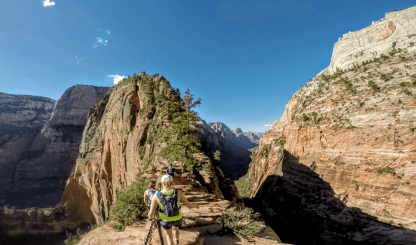 Hikers on Angels Landing in Zion National Park