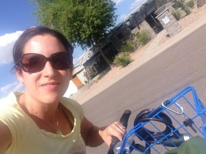 Selfie on the bike with the fabulous blue basket.