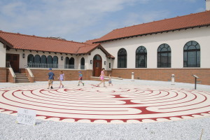 The kids wanted to know about the funny looking thing in front of church.  I shared that it was a labyrinth and it was like a maze.  Mass running ensued.
