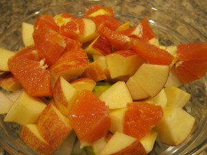 Made a quick fruit salad for desert with a mishmash of fruit in our kitchen