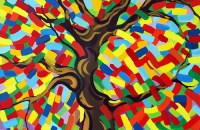 """The Painted Tree (2010), Oil on canvas 40"""" x 40"""""""
