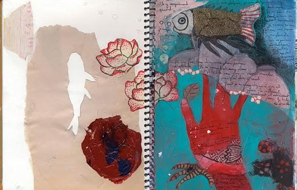 Tifenn Python, Fish, roses, hand, negative space fish