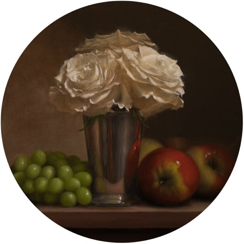 Jonathan Koch, Roses, Silver Vase, Grapes, Apples, 12 x 12 inches, 2013