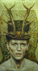 Hunted, oil on dutch mtela and beeswax on board. 23insx40ins.