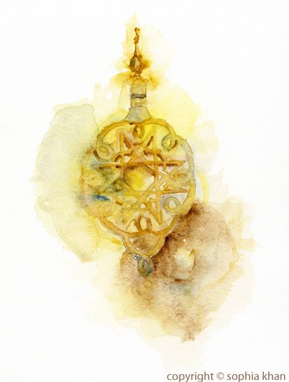 No3_Royal_Palace_doorknocker_Fez_watercolor_copyright_sophia_khan