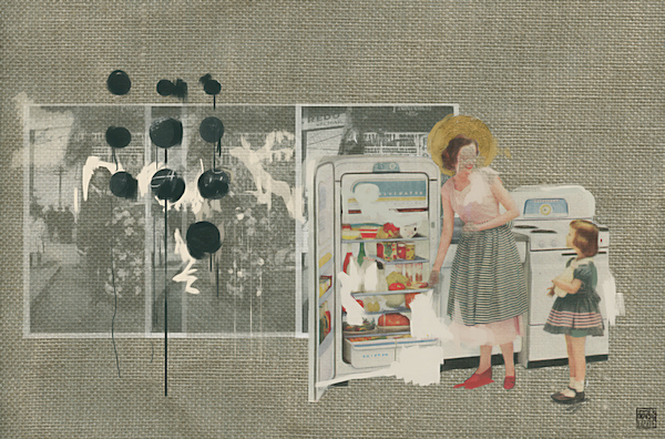 Lizzie Gill, kitchen with fridge