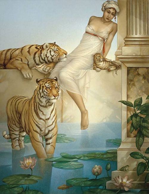 Michael Parkes, tigers and pool