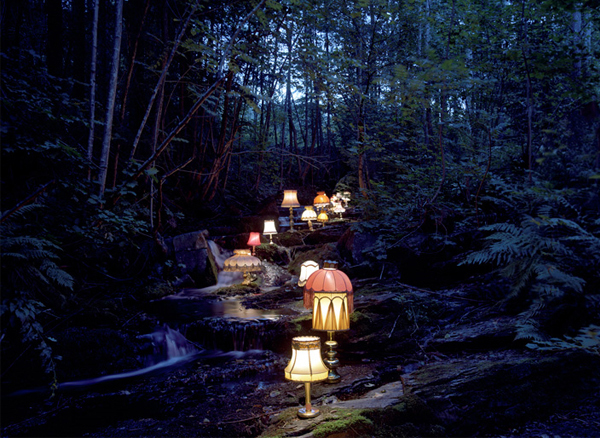 Rune Guneriussen, lamp pathway in woods