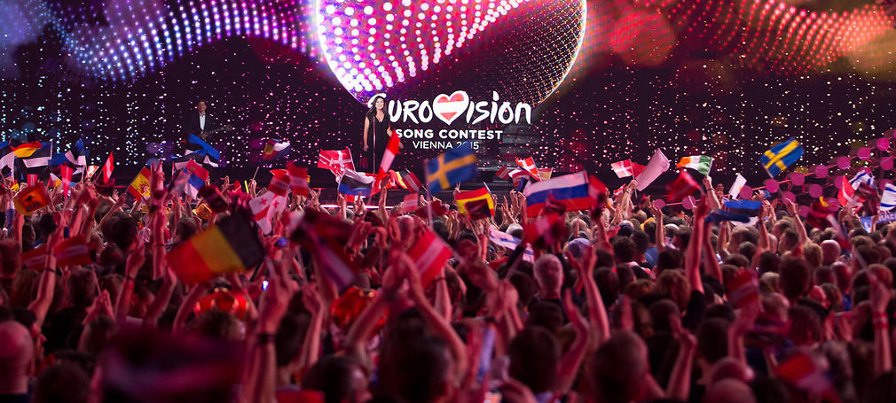 """Elina Born & Stig Rästa of Estonia perform their song """"Goodbye to Yesterday"""" at the first semi-final show of the Eurovision Song Contest 2015 in Vienna, Austria on May 19, 2015."""