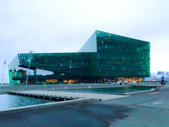 Outside the Harpa Concert Hall in Reykjavik