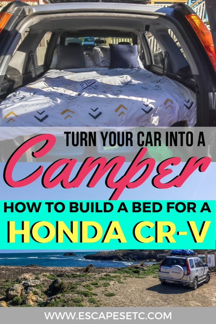 In this guide I show you how we made our Honda CR-V sleeping platform, how you can make one for your car and all the reasons why you should! #roadtrip #campercar #hondacrvsleepingplatform #carbed