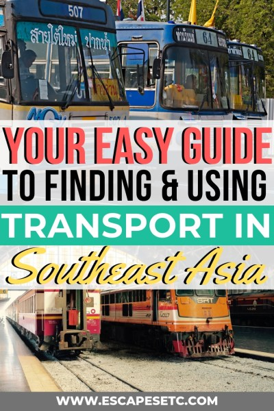 Planning a trip to Southeast Asia for the first time? Want to know how to travel Southeast Asia using overland transport? You've come to the right place! Here's my guide to finding and using cheap transport in Southeast Asia. Learn where to buy us and train tickets in Southeast Asia, as well as cheap flights and ferry tickets! #southeastasia #backpackingasia #busesinasia #overnighttrains #overnightbuses #overlandtravel #rtwtravel