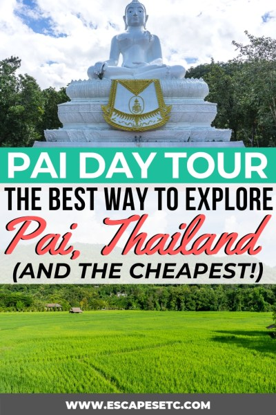 Are you planning a trip to Pai in North Thailand? This beautiful spot is full of green space, natural beauty and is a great place to really relax. One of the best things to do in Pai is take a day tour to see all the sites. Here's my review of the day tour and how it can actually save you money! #pai #norththailand #thailand #paithailand thingstodoinpai #paidaytour #whitebuddha #paicanyon #paiwalkingstreet #lodcave #paiwaterfall