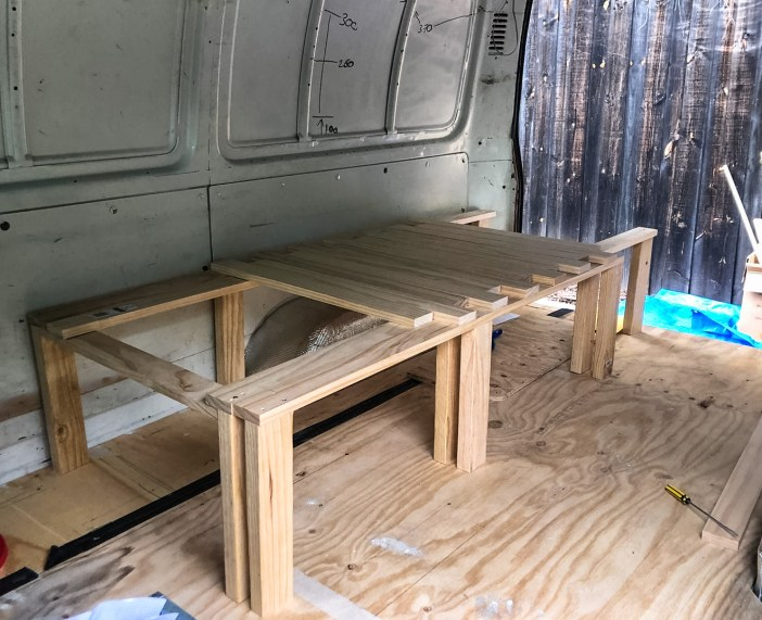 The frame for the pull out part of the camper bed