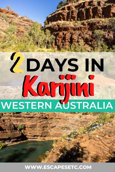 Planning an epic Western Australia Road trip? Click here for the best 2 day Karijini itinerary to find out the top things to do in Karijini, the best camping in Karijini, the best walks in Karijini, Waterfalls in Karijini and what you'll need to take to have the best time. On this 2 day Karijini Itinerary you'll visit Dales Gorge, Weano Gorge, Hancock Gorge and see Handrail Pool, Circular Pool, Kermits Pool and Fortescue Falls #karijini #karijininationalpark