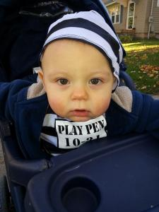 My little convict Remington escaped his playpen to go trick or treating.