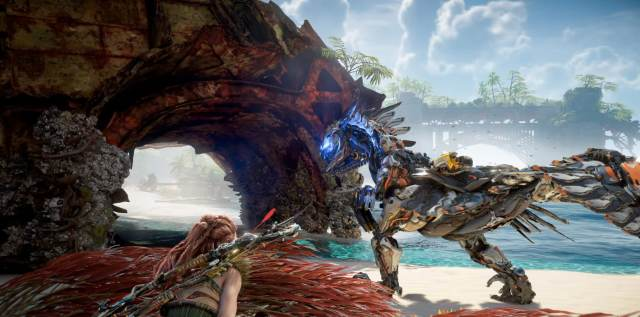 Horizon Forbidden West State of Play Gameplay Sees Aloy Paragliding Away  from Mammoth Attacks