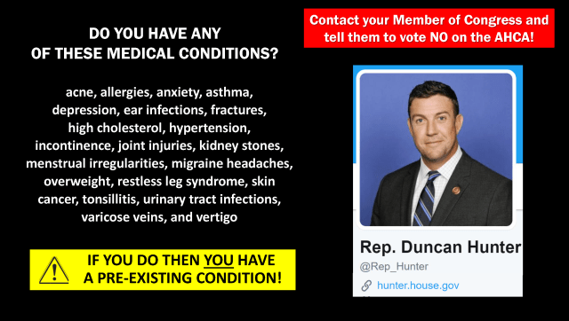 Vote No on the AHCA, Rep. Hunter