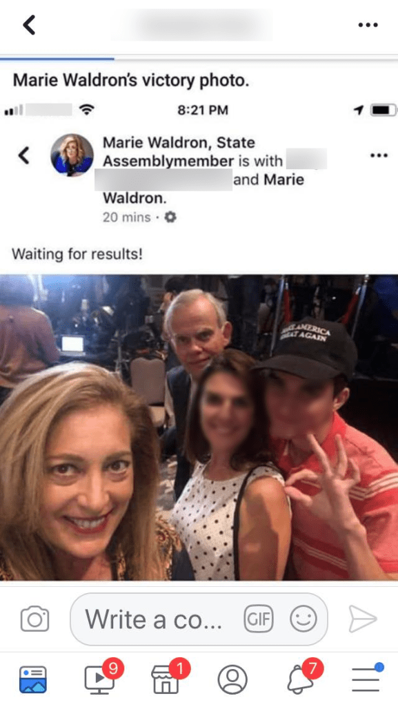 An individual in a now-deleted photo that Assemblymember Marie Waldron posted made a white power hand symbol.