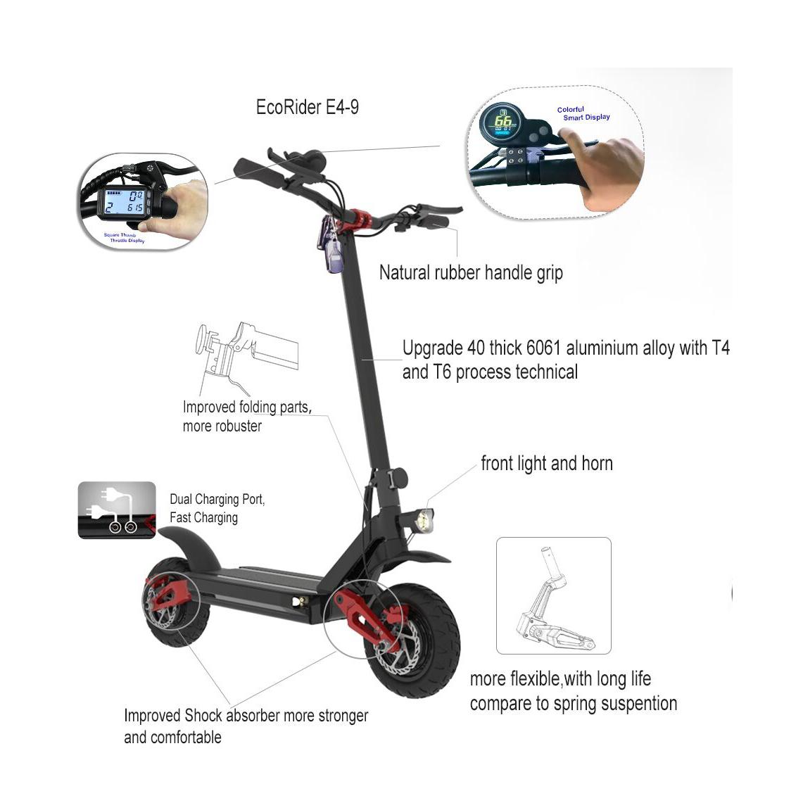 Ecorider 60v W Electric Scooter Brushless Motor Kick