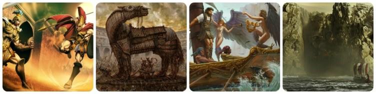 Aquiles contra Heitor, Cavalo de Tróia, Odisseu contras as sereias e contra Cila.