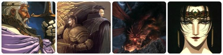 Rei Fahn, Rei Kashue e Ashram, dragão Shooting Star e feiticeira Karla - Ícones de Lodoss