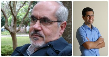 Luiz Antônio de Assis Brasil e o escritor Marcelo Spalding.