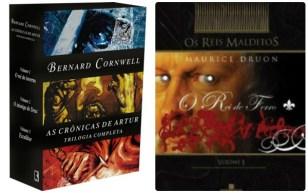 Livros de Bernard Cornwell e Maurice Druon.