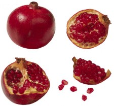 Whole and Cut Pomegranate
