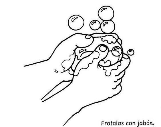 Dibujos para colorear para enseñar a lavarse las manos