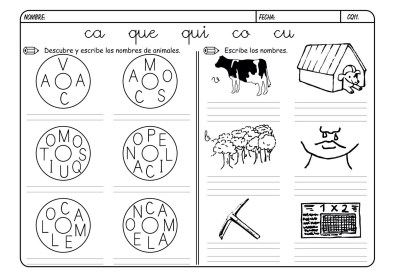 Fichas para trabajar la lectoescritura con la C y Q