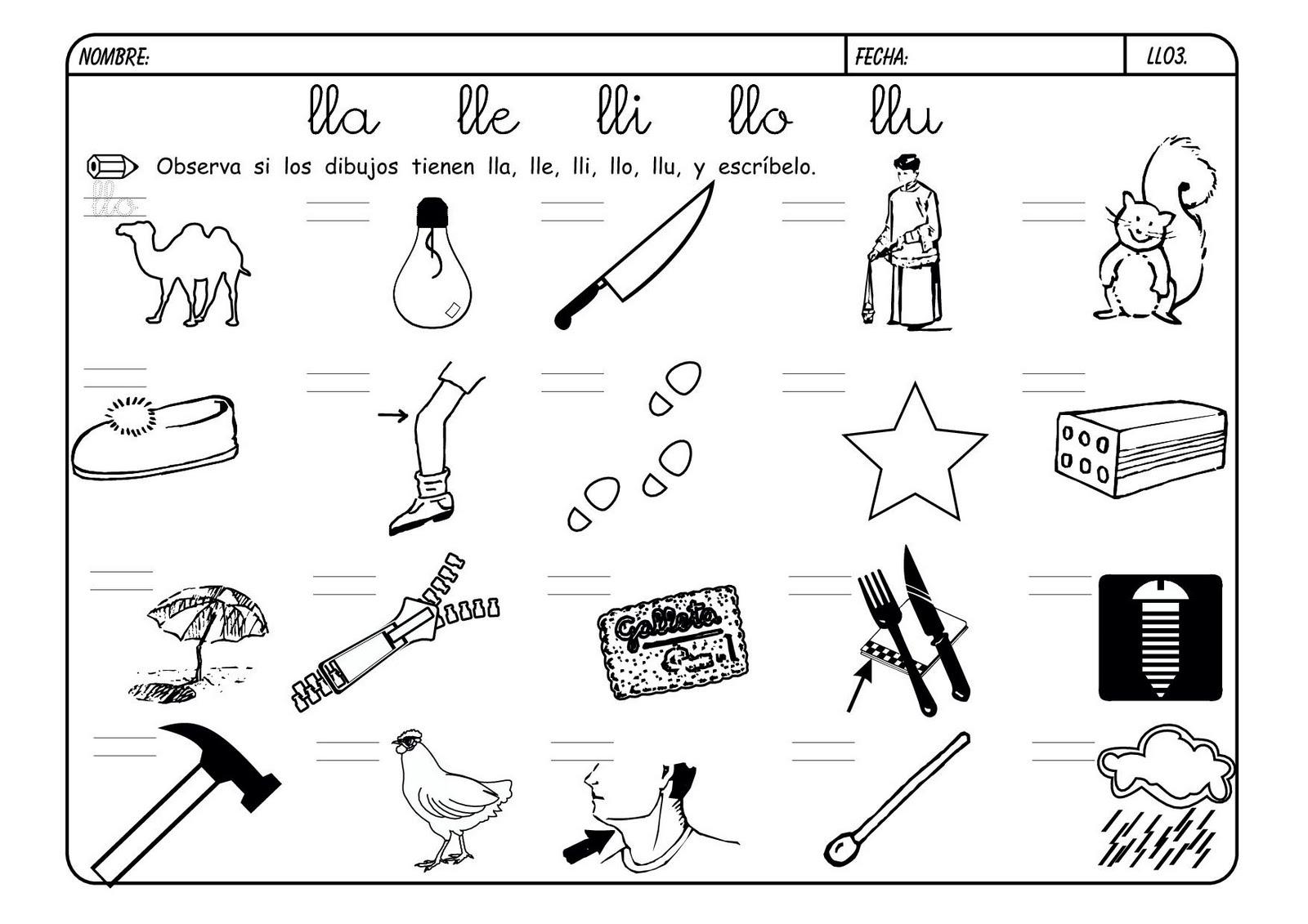 Imagenes Con La Letra Ll Sketch Coloring Page