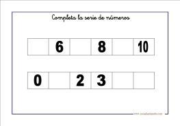 Fichas de matemáticas. Series de números