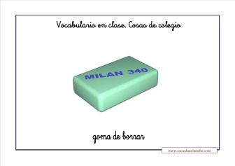 Vocabulario colegio goma de borrar