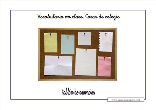 Vocabulario colegio tablon de anuncios