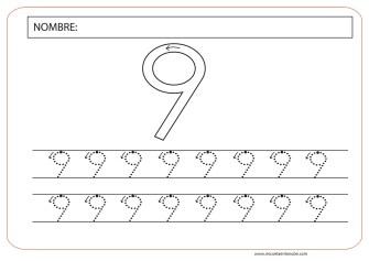 numero nueve para colorear