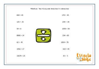 dividir, división, ejercicios de division, division ejercicios, matematicas primaria, ejercicios matematicas