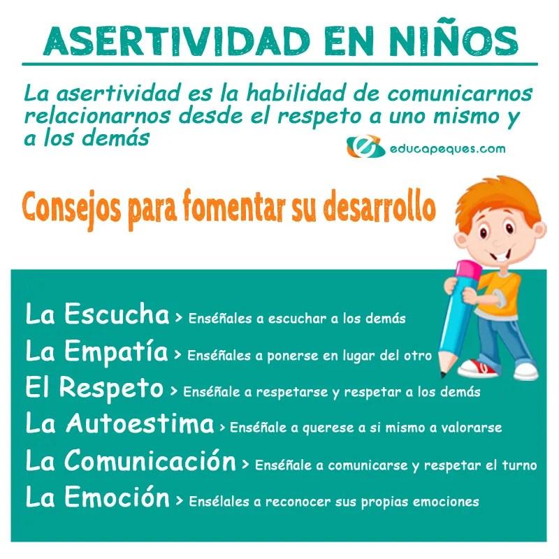 asertividad en niños, infografia asertividad infantil