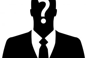 Businessman icon with question mark on his head