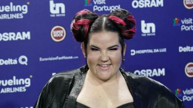 Netta Barzilai at her Eurovision press conference following performance of TOY