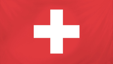 The flag of Switzerland, a white cross on a red field.