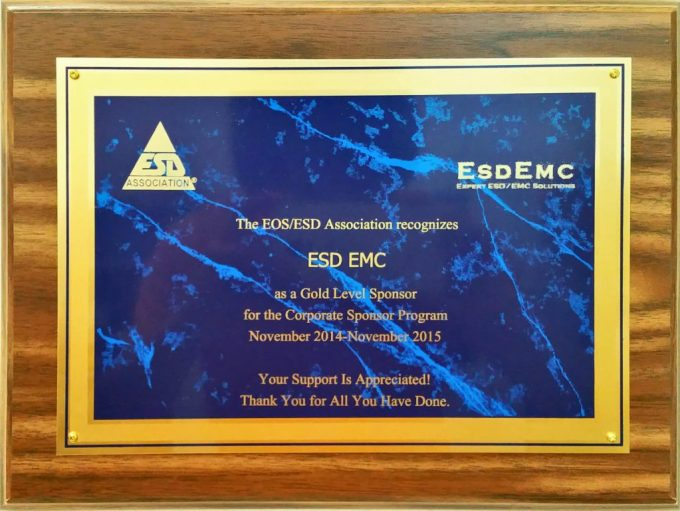 ESDEMC ESDA Gold Level Sponsorship
