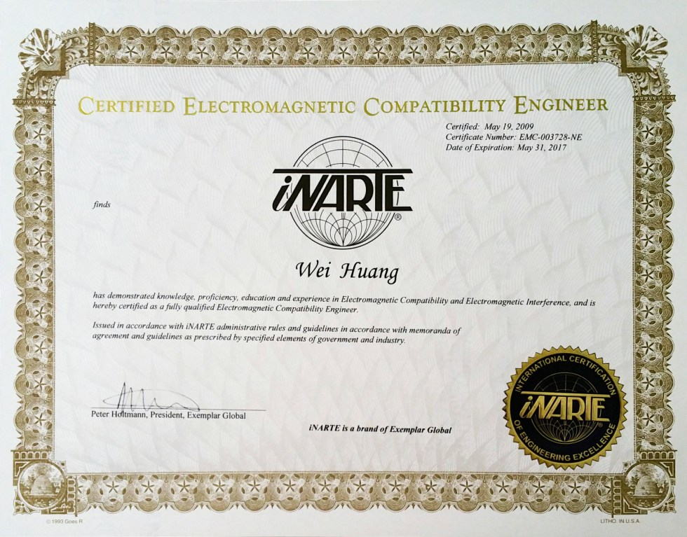 Wei Huang has been an iNARTE Certified EMC Engineer from 2009 (The youngest iNARTE EMC Engineer, 23 years old )