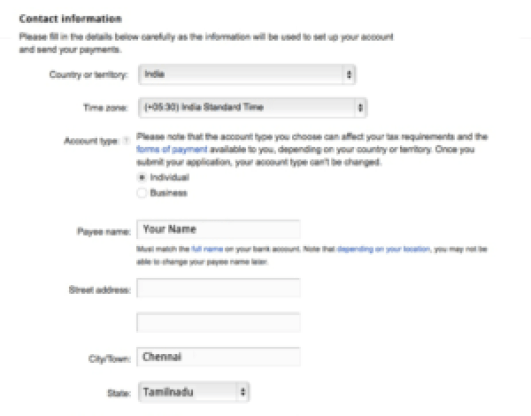Adding payee Name in Google Adsense